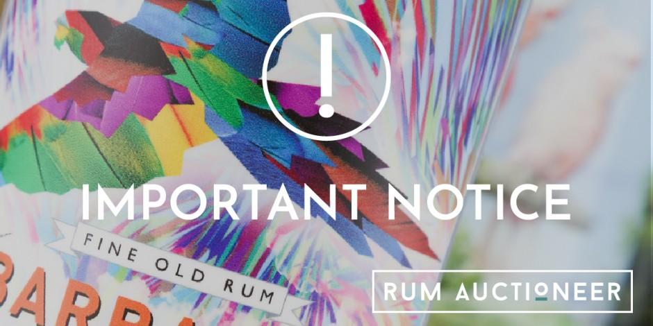 Rum Auctioneer Important Notice