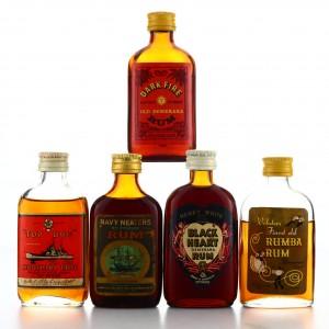 Demerara Rum Miniatures x 5 1960s-70s